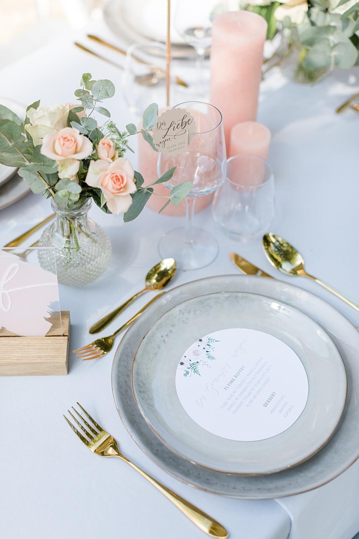 Tischdekoration Fine Art Wedding Hellgrau Rosé