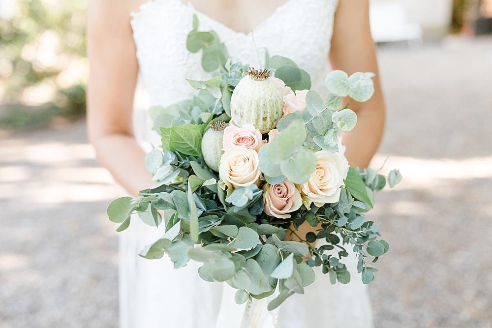 Brautstrauß Eukalyptus Mohnkapsel Rosen, Brautstrauß Grün Rosé, Brautstrauß Pastell, Brautstrauß greenery