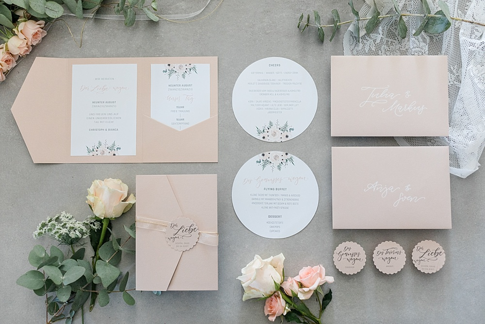 Hochzeitskarten Pastell, Hochzeitseinladungen natürliuch pastell rosé