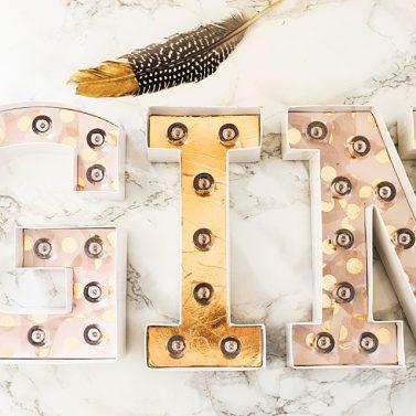 DIY Gin Bar: Leuchtbuchstaben selber dekorieren
