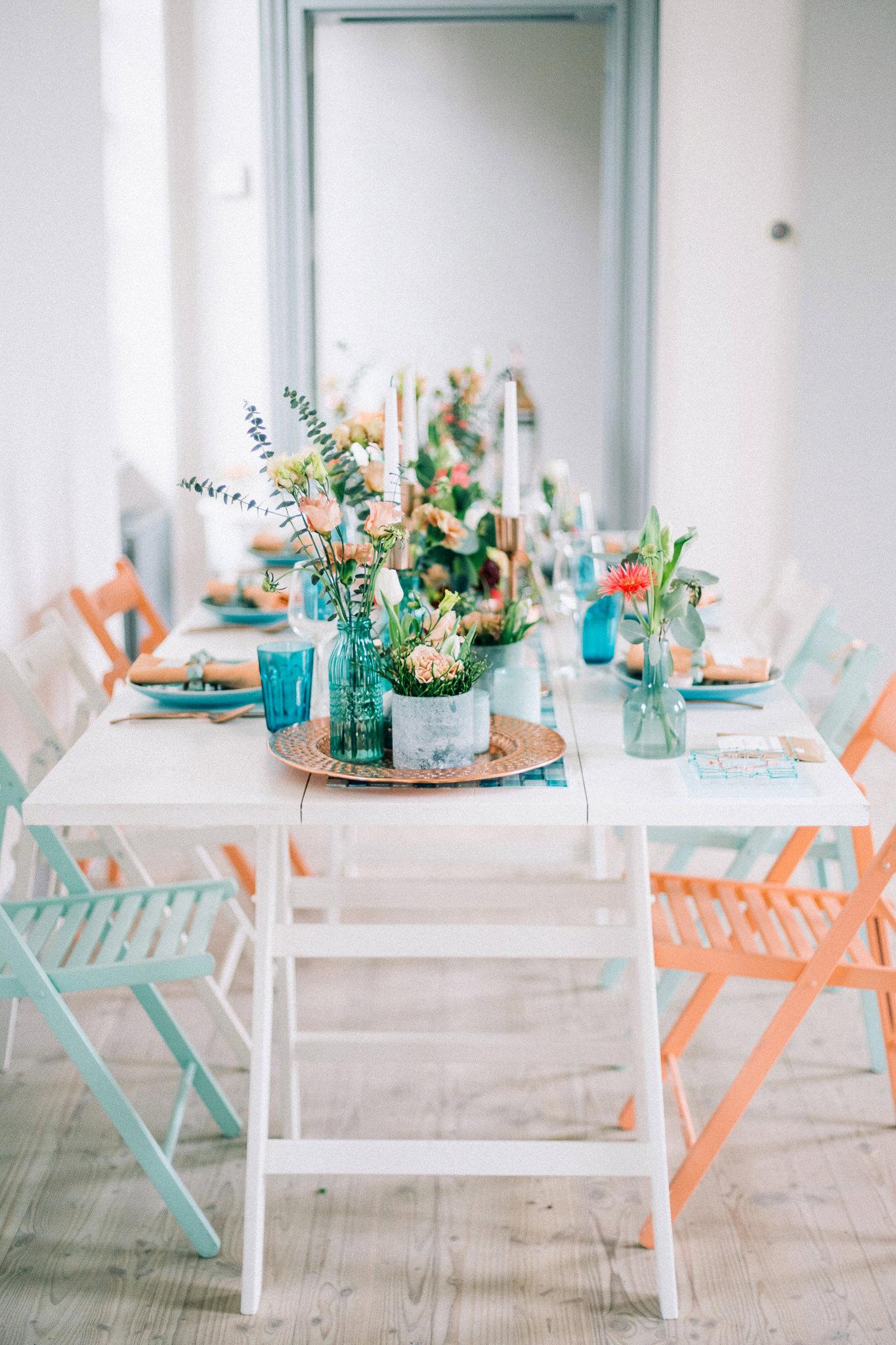 Tischdekoration Hochzeit Sommer, Tischdeko Hochzeit Petrol Koralle Mint