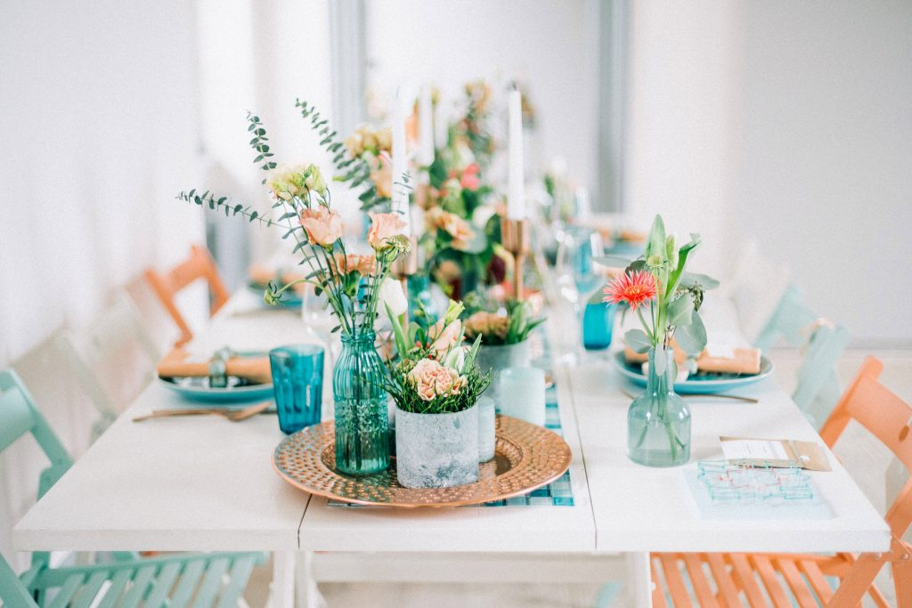 Tischdekoration Hochzeit Mint Petrol