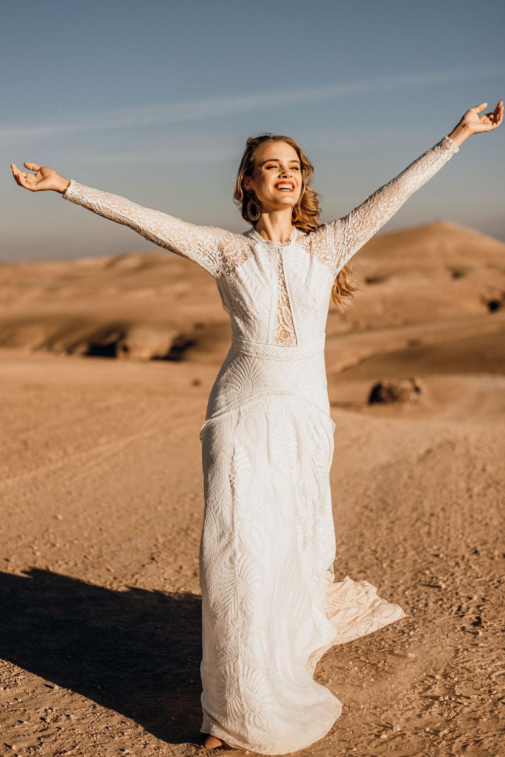 Brautkleid Boho langarm