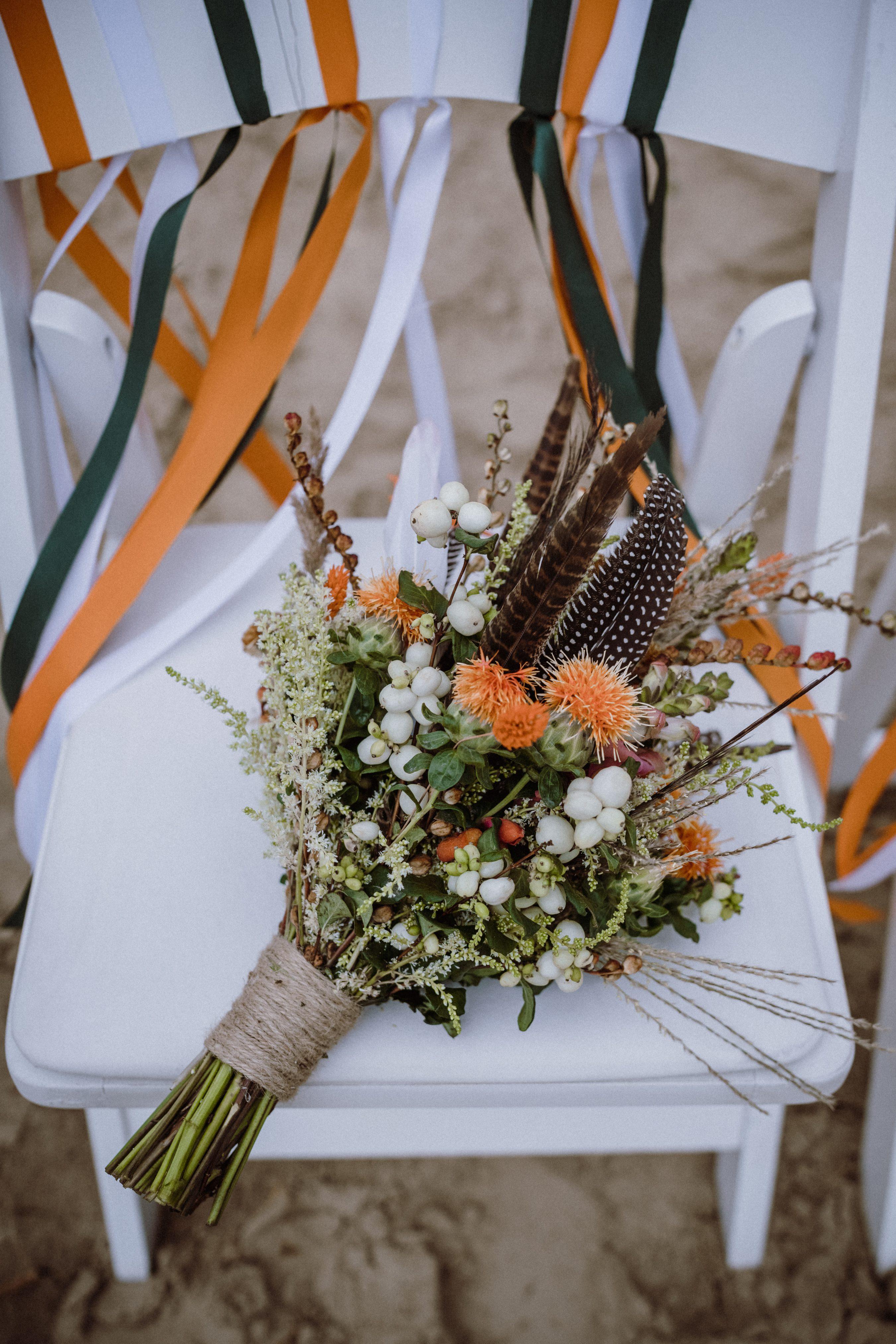 Brautstrauß Orange Weiß Grün