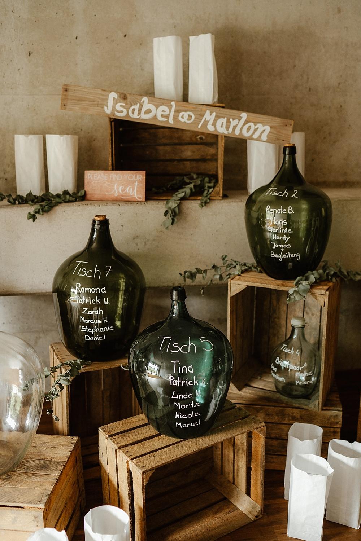 Sitzplan Hochzeit selber machen Flaschen beschriften, Sitzplan Weinballon beschriften, DIY Sitzplan Hochzeit, Sitzplan Hochzeit selbermachen