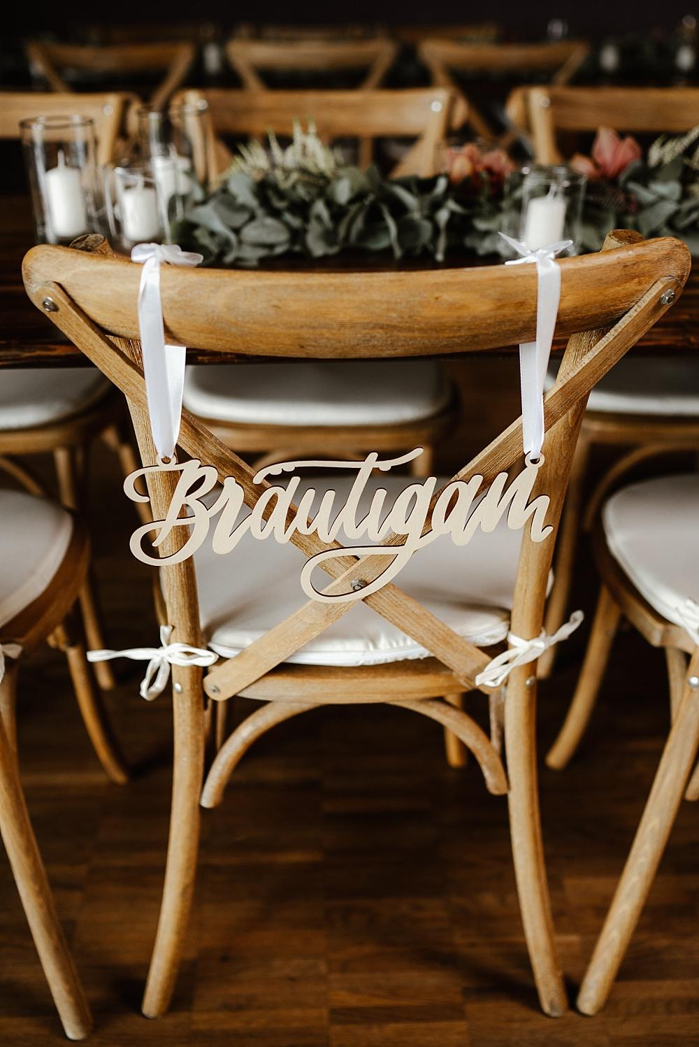 Bräutigam Stuhlschild Hochzeit, Hochzeitsschild Bräutigam, Stuhlschilder Hochzeit, Stuhlschild Hochzeit Naturholz,