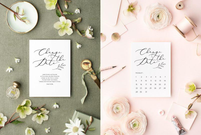Freebie: Change the Date Karten um die Hochzeit zu verschieben