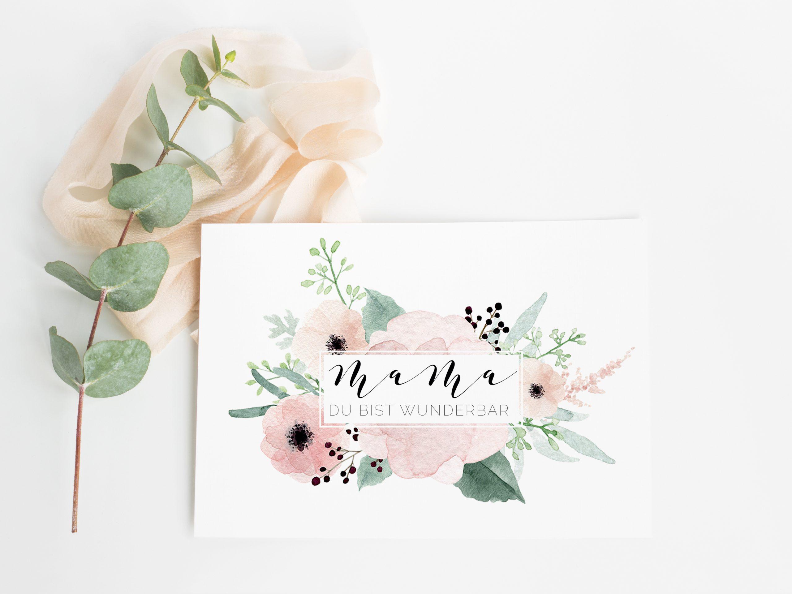 Muttertag Karte Mama du bist die Beste, Karte mama Geburtstag, Geschnk Muttertag Ideen