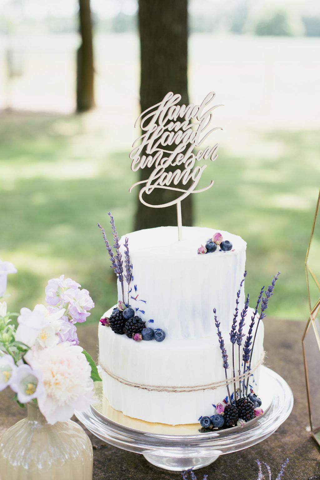 Cake Topper Hochzeit Hand in Hand ein Leben lang,