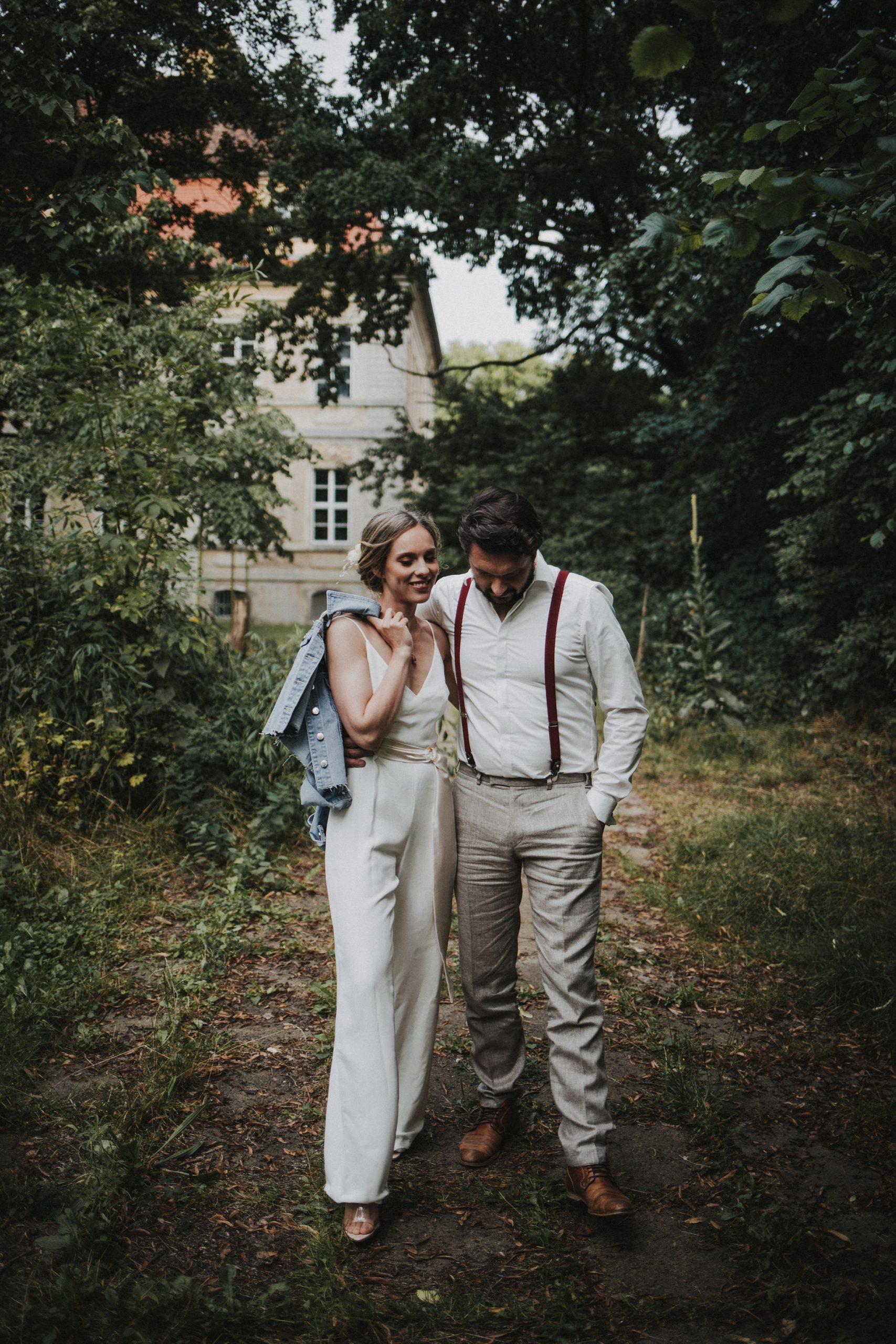 Braut Jumpsuit, Hochzeit Hosenanzug weiß Braut