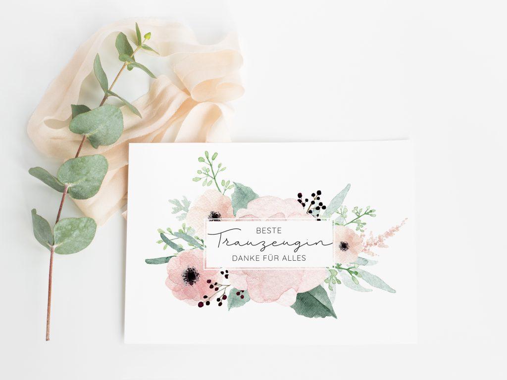 Karte Trauzeugin Danke, Dankeskarte Trauzeugin, beste Trauzeugin, Trauzeugin Danke Geschenk, Geschenkidee Trauzeugin