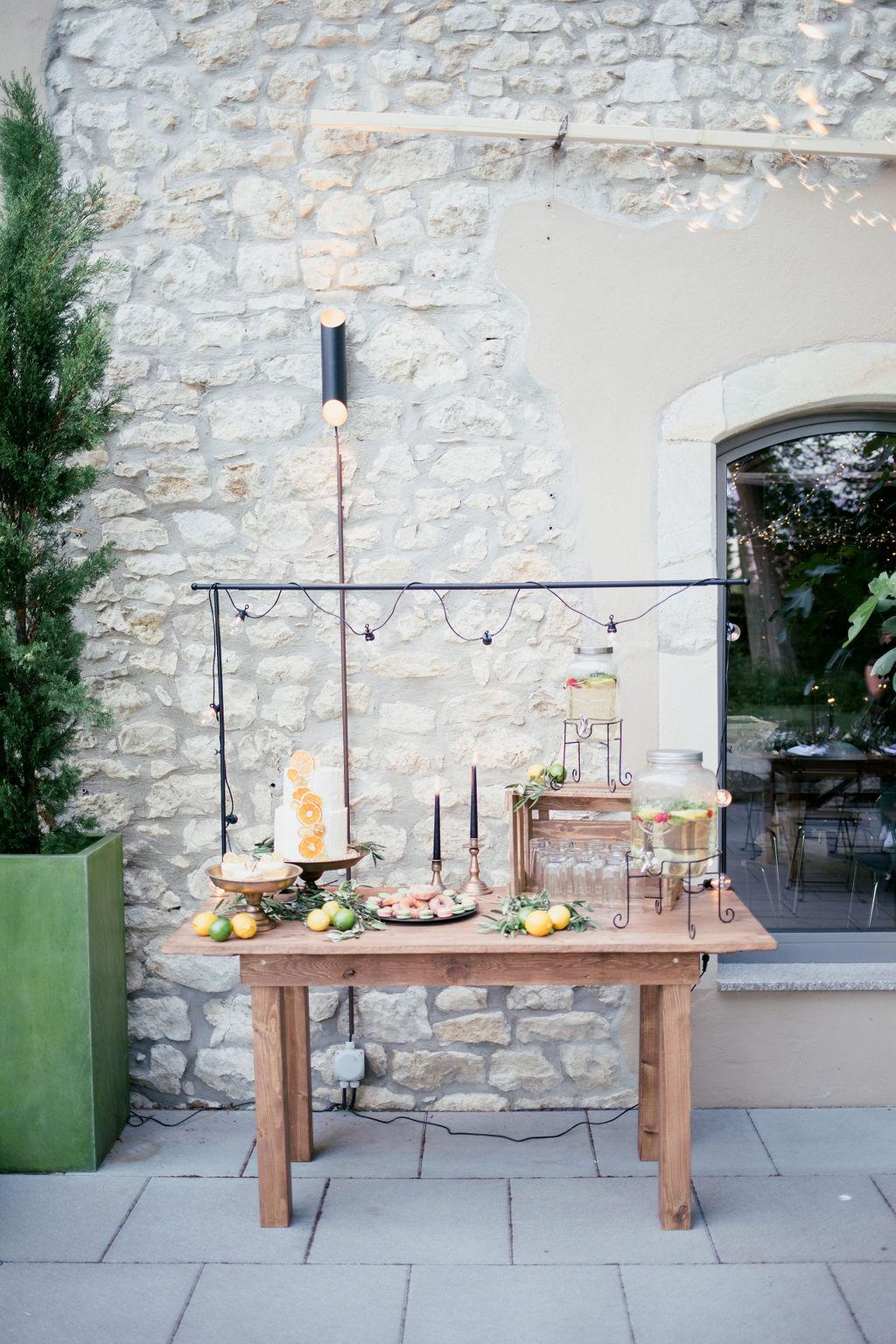 Hochzeitstorte Sweet Table Hochzeit mediterran, Orangen Hochzeitstorte