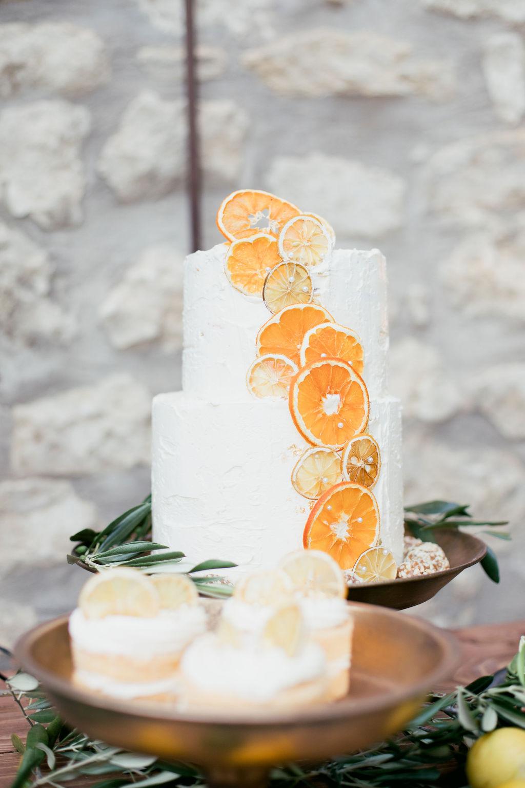 Hochzeitstorte Orangen, Hochzeitstorte mediterran getrocknete Orangen