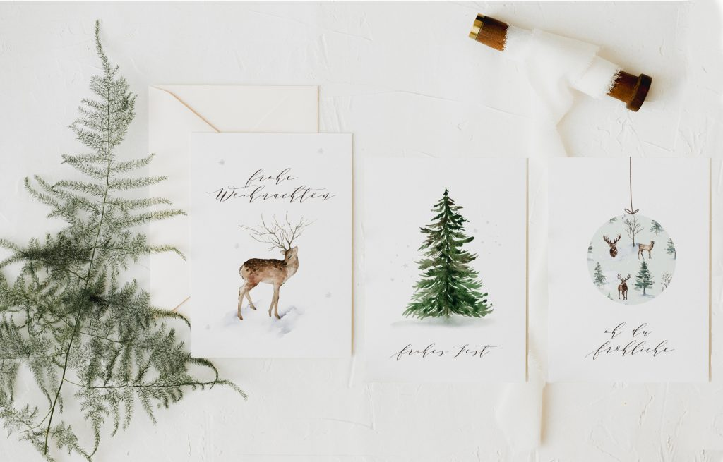 Weihnachtskarten Set Aquarell Waldweihnacht, Tannenbaum #weihnachtskarten #weihnachtskarte #weihnachten #karte #postkarte #aquarell #modern #wald #greenery