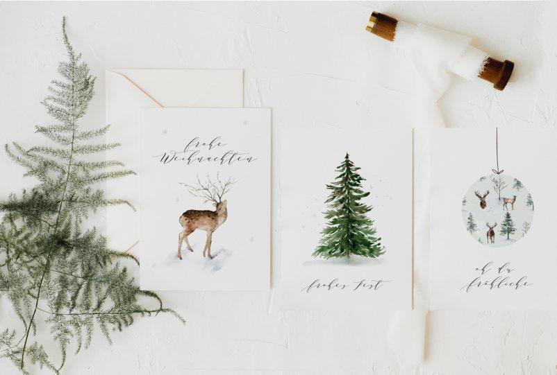 Moderne Weihnachtskarten Sets: 5 schöne Ideen für eure Weihnachtspost