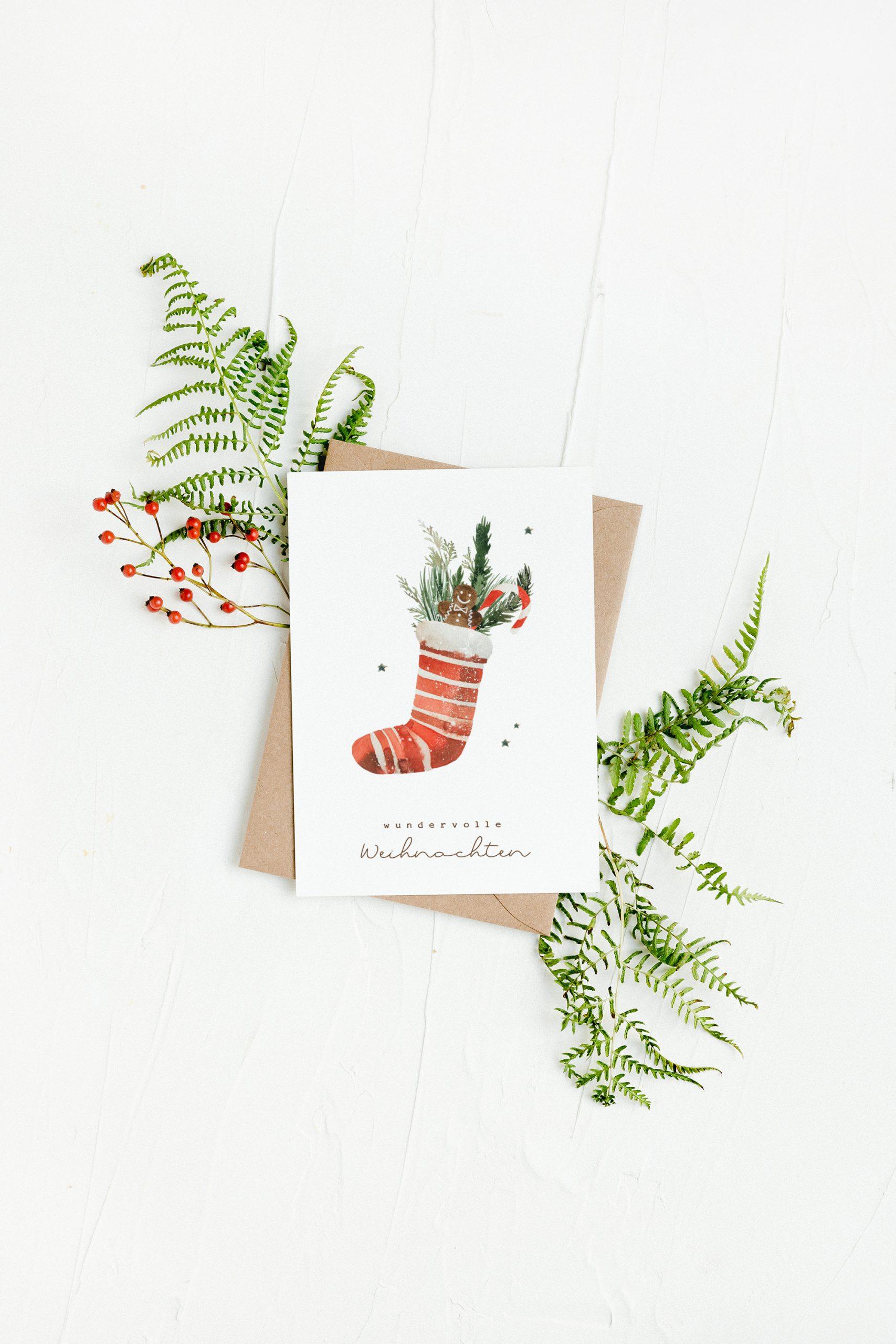 Weihnachtskarten Set Aquarell Waldweihnacht, Karte Weihnachten, Weihnachtskarte modern, Tannenbaum #weihnachtskarten #weihnachtskarte #weihnachten #karte #postkarte #aquarell #modern #wald #greenery