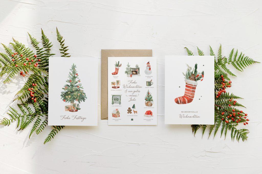 Weihnachtskarten Set Aquarell, Weihnachtskarten nostalgisch, Weihnachtskarten klassisch,  Tannenbaum #weihnachtskarten #weihnachtskarte #weihnachten #karte #postkarte #aquarell #modern #wald #greenery