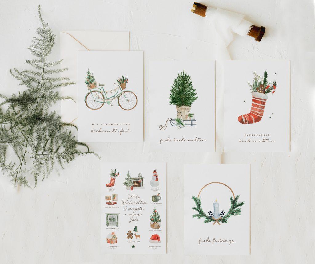 Weihnachtskarten Set Aquarell, Karte Weihnachten, Weihnachtskarten Aquarell, Weihnachtskarten modern, Tannebaum,Nikolausstiefel, Fahrrad, Kamin,  Waldweihnacht, Tannenbaum #weihnachtskarten #weihnachtskarte #weihnachten #karte #postkarte #aquarell #modern #wald #greenery