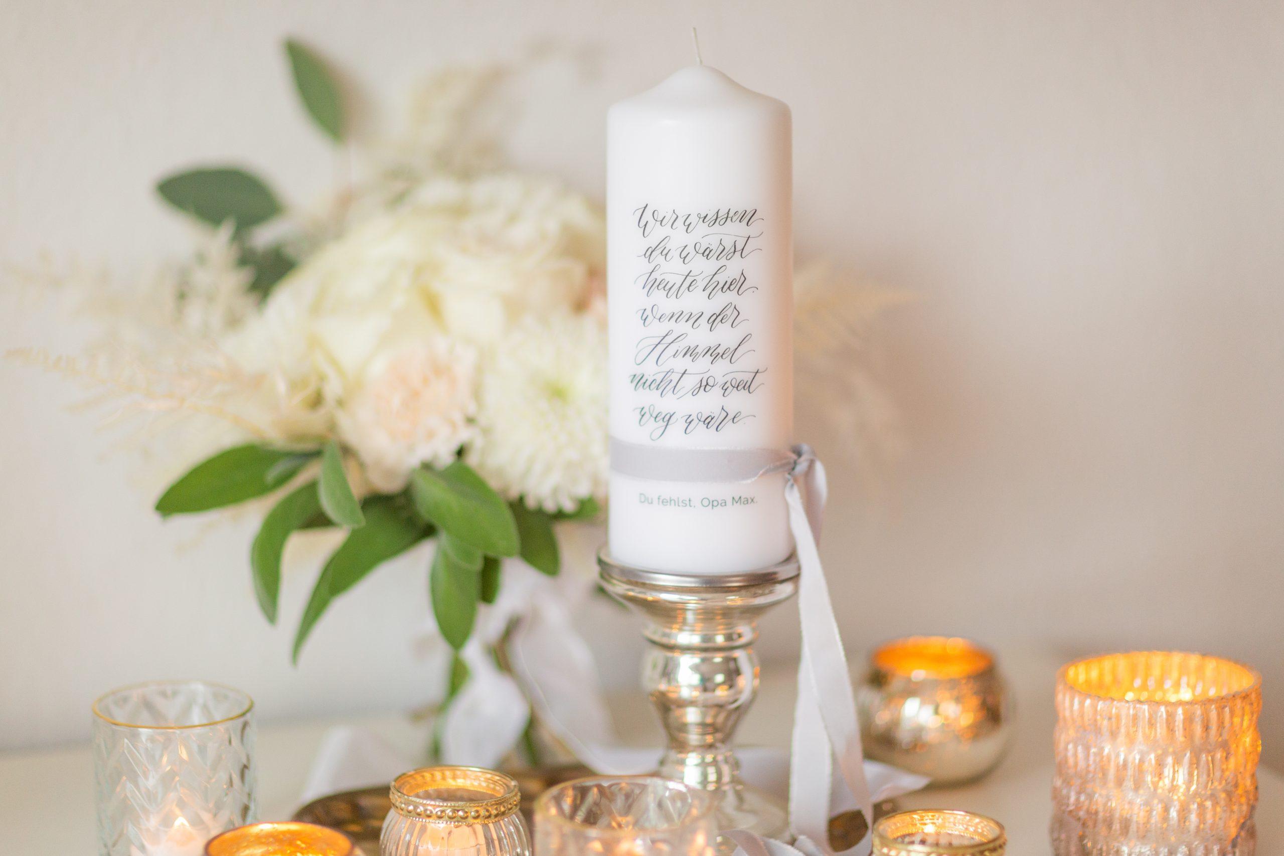 Gedenkkerze Hochzeit, Gedenkkerze, Trauerkerze personalisiert, Gedenkkerze für Verstorbene