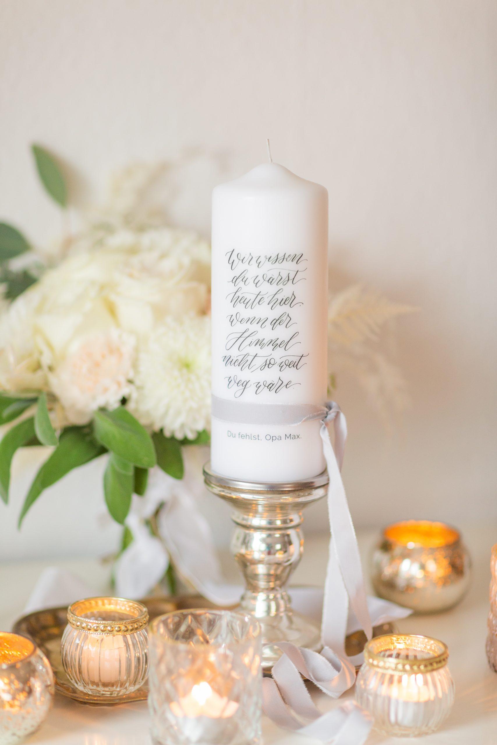 Gedenkkerze Verstorbene Hochzeit, Trauerkerze Hochzeit, Kerze für Verstorbene Fest, Gedenkkerze Taufe, Geburtstag